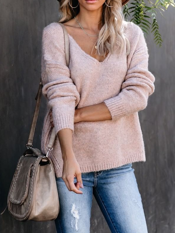 Solid Casual Long Sleeve V Neck Sweater