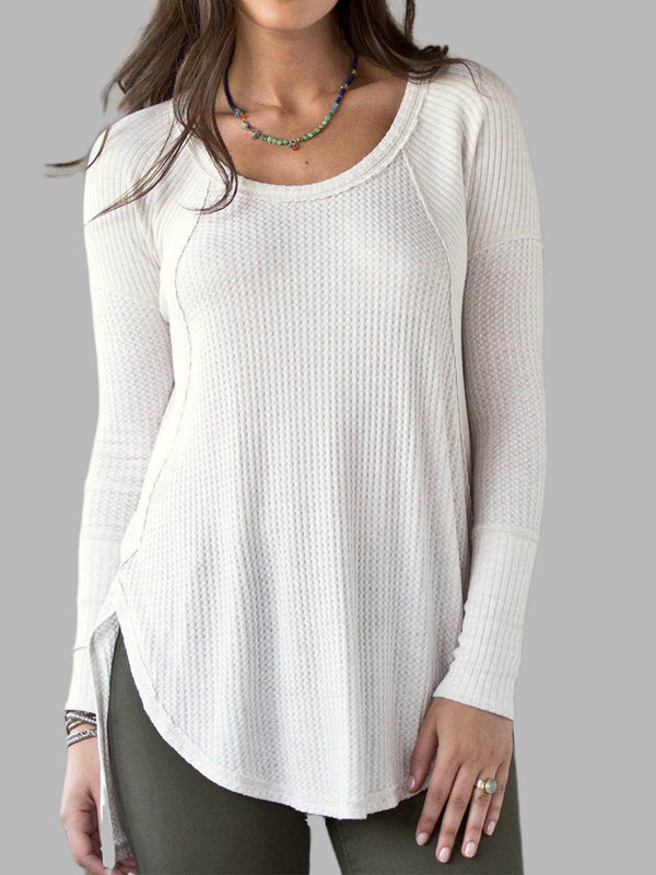 White Cotton-Blend Long Sleeve Asymmetrical Round Neck Shirts & Tops