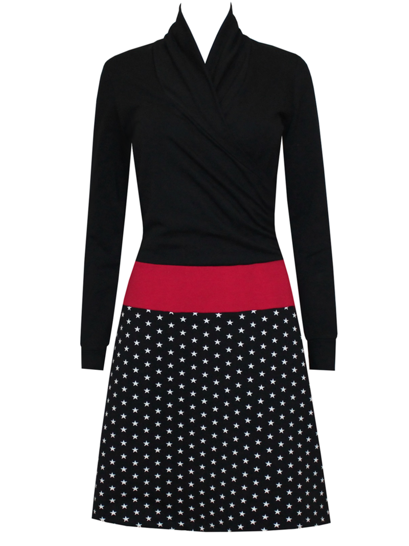 Polka Dots Long Sleeve V Neck Casual Dresses