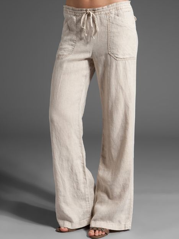 Pockets Cotton-Blend Casual Pants
