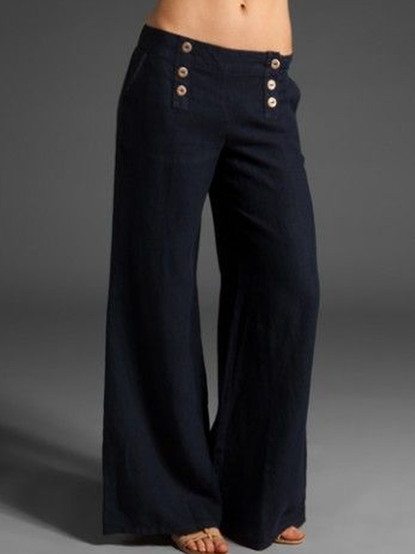 Cotton-Blend Casual Buttoned Pants