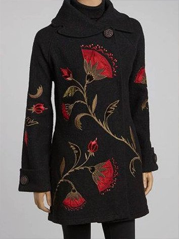Black Vintage Long Sleeve Shawl Collar Outerwear