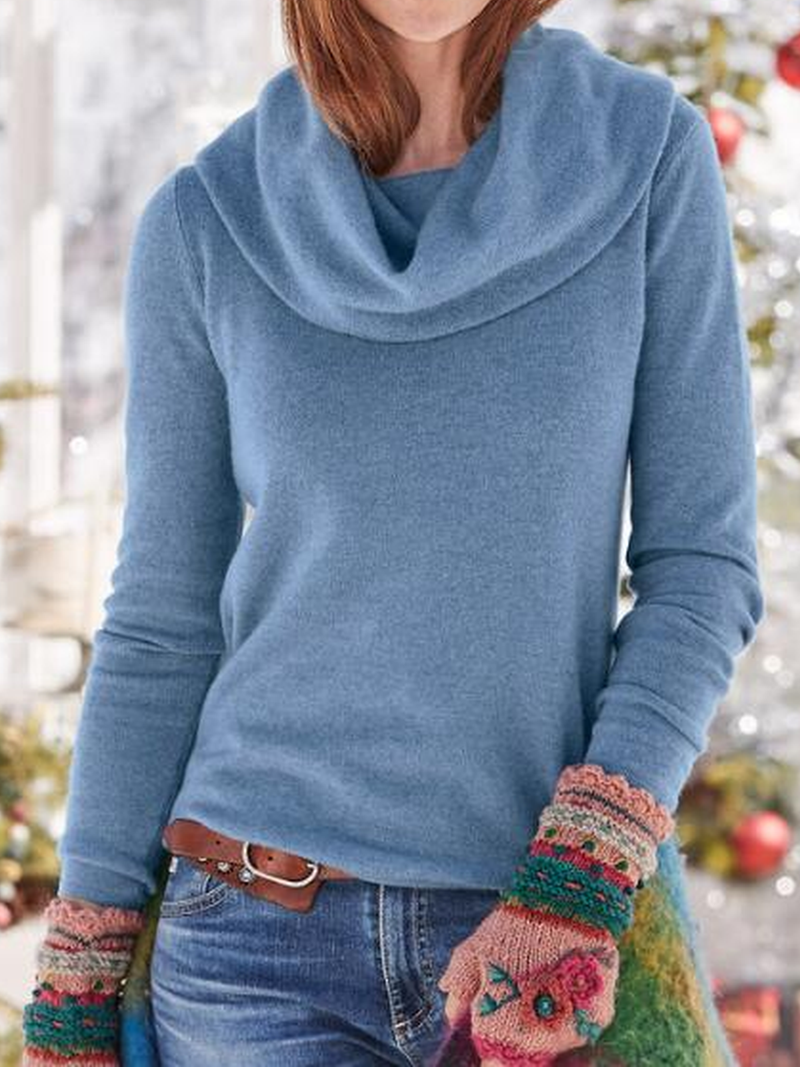 Casual Cowl Neck Solid Sweater