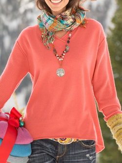 Solid V neck Casual Sweater