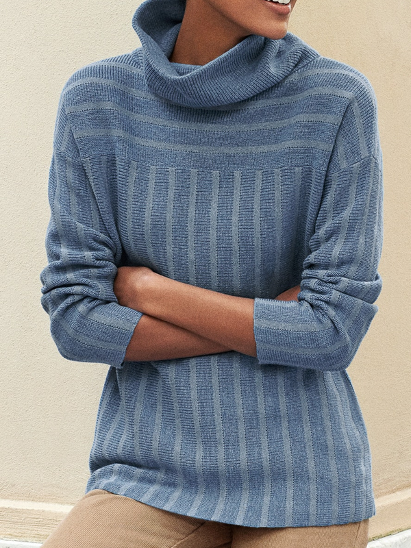Striped Cowl Neck Casual Sweater