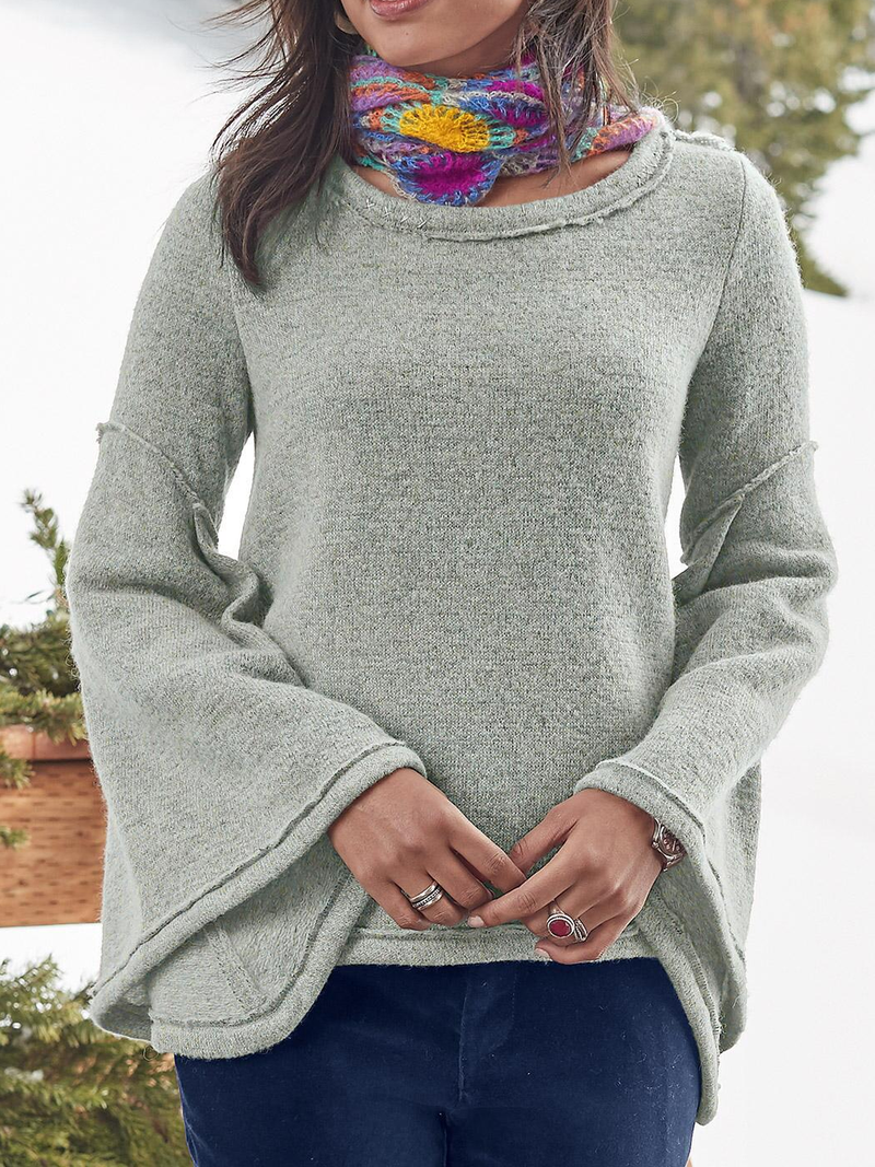 Solid Casual Cotton-Blend Sweater