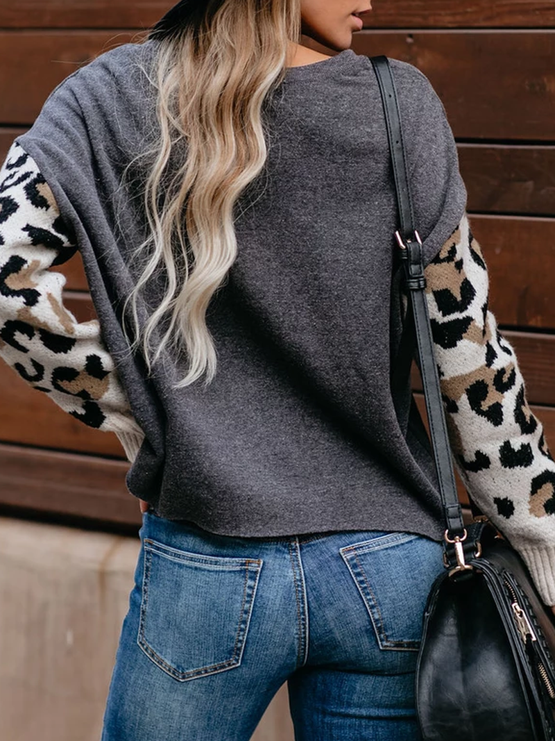 Crew Neck Leopard Print Casual Sweater