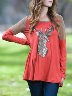 Printed Long Sleeve Casual Crew Neck Shirts & Tops