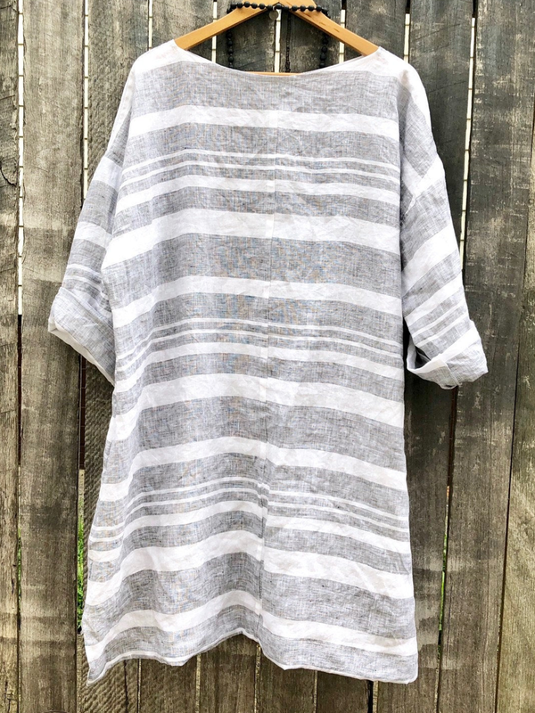 Casual Striped Crew Neck Cotton-Blend Shirts & Tops