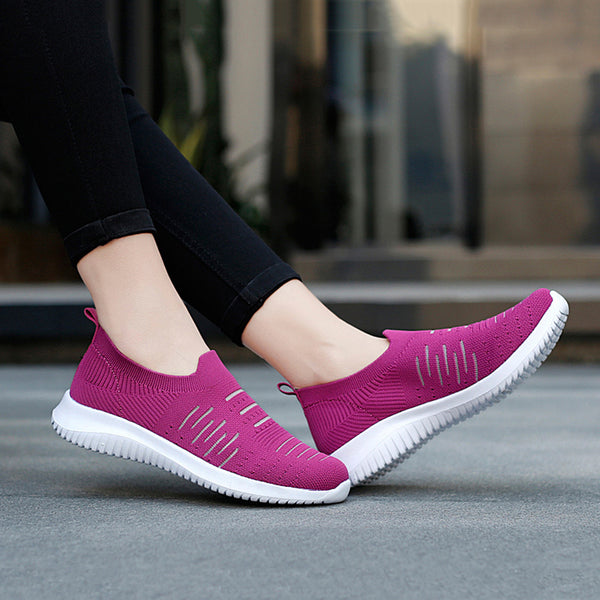 Women Slide Round Toe Athletic Flat Heel Sneakers