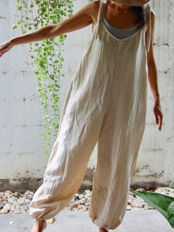 White Linen Shift Casual One-Pieces