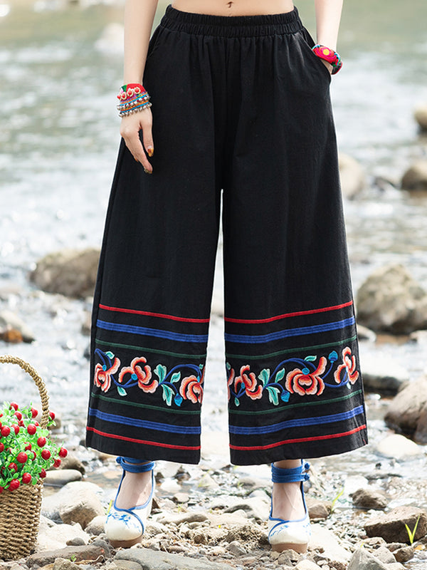 Cotton And Linen Embroidered Wide Leg Pants With Pockets