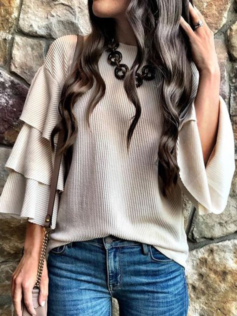 Casual Long Sleeve Round Neck Solid Shirts