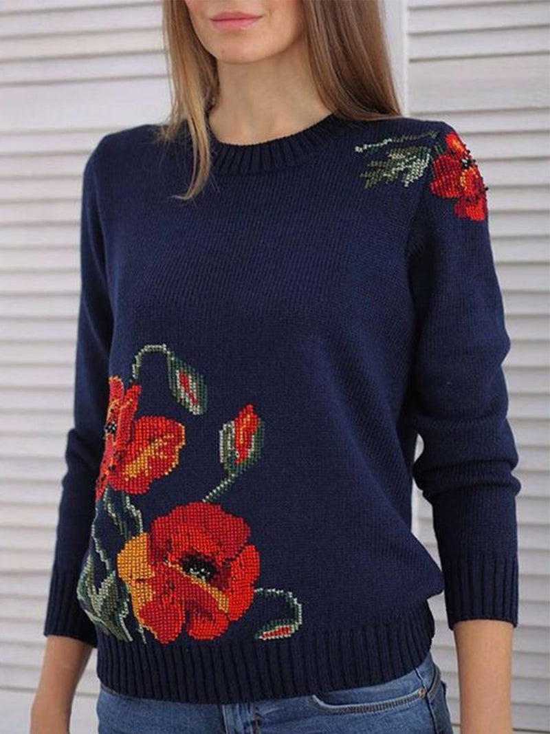 Plus Size Floral Long Sleeve Sweater