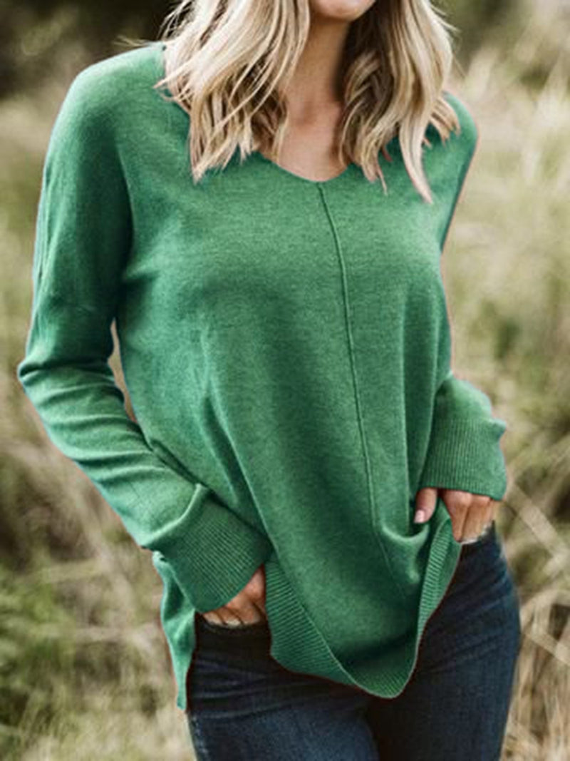 Casual Knitted Long Sleeve Crew Neck Sweater