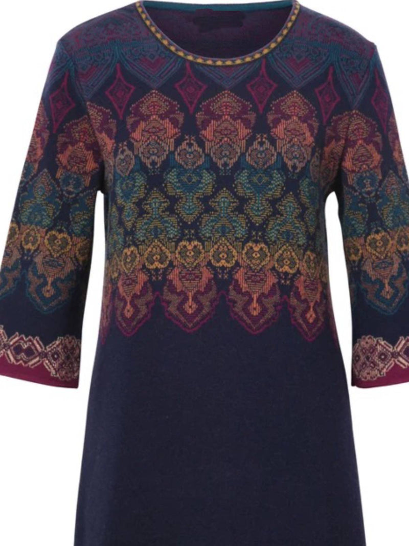 Blue Cotton Floral Crew Neck Long Sleeve Dresses