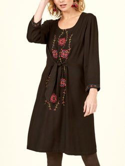 Women's  Casual Cotton Embroidered Shift Dresses