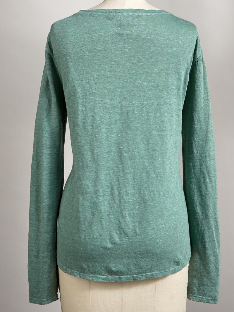 Green Long Sleeve Round Neck Shirts & Tops