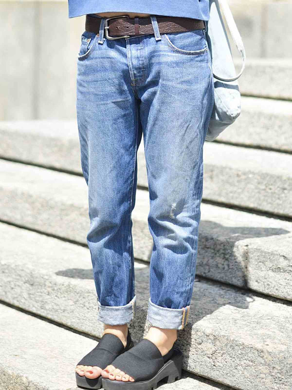 Blue Denim Plain Casual Pants