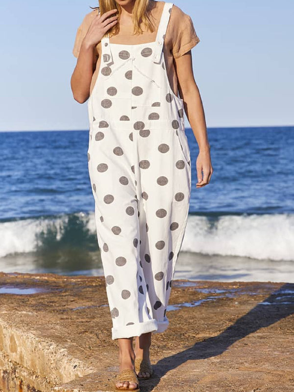 Casual Plus Size Polka Dots Jumpsuit Overalls