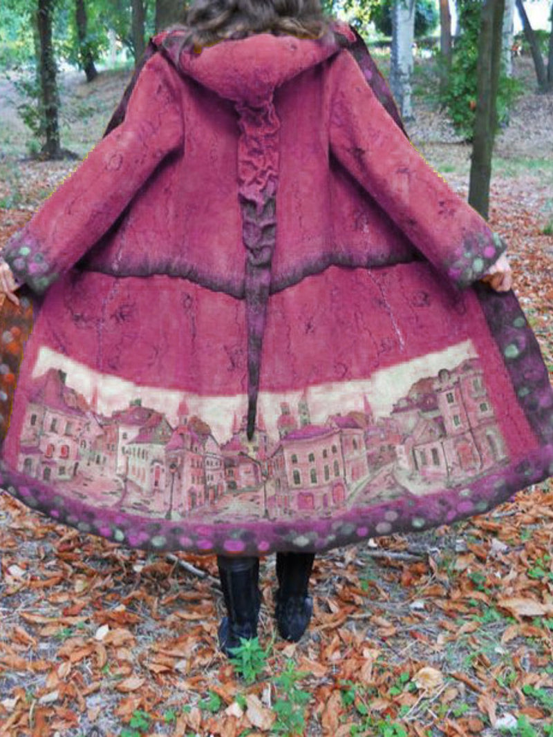 Women Vintage Plus Size Print Coat