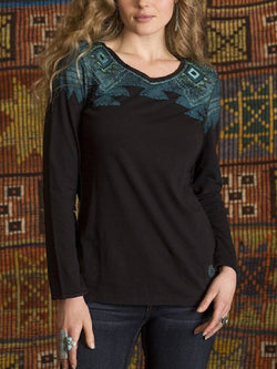 Black Long Sleeve Embroidered Shirts & Tops