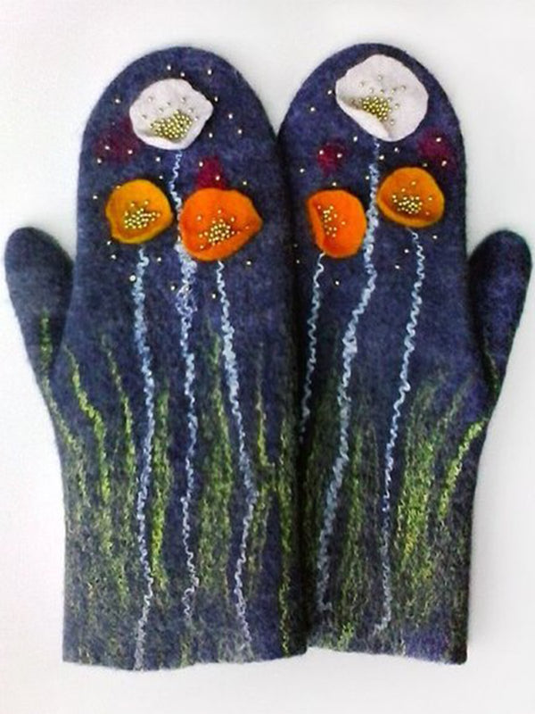 Deep Blue Women Cotton Floral Statement Gloves & Mittens