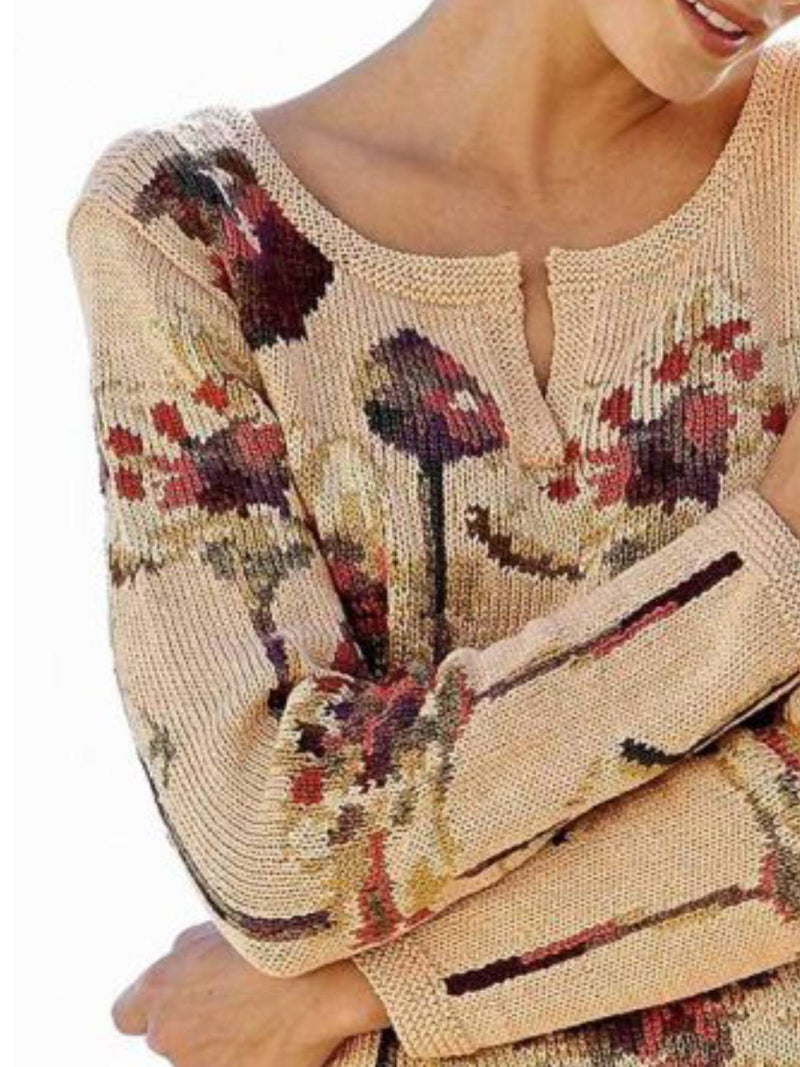 Apricot Floral Long Sleeve Cotton-Blend Crew Neck Shirts & Tops