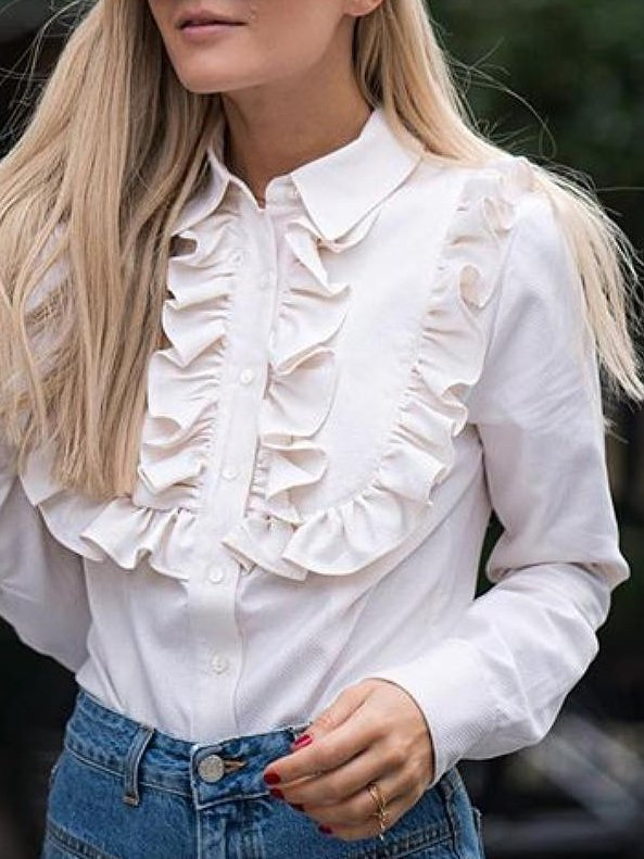 White Casual Shift Shirt Collar Shirts & Tops