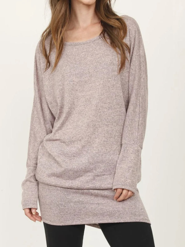 Plus Size Casual Long Sleeve Crew Neck Dresses