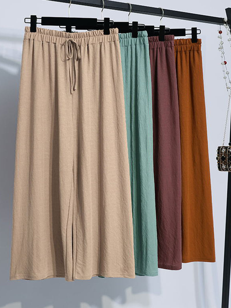 Plus Size Women Cotton Solid Loose Casual Pants