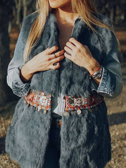 Blue Boho Tribal Faux Fur Long Sleeve Outerwear