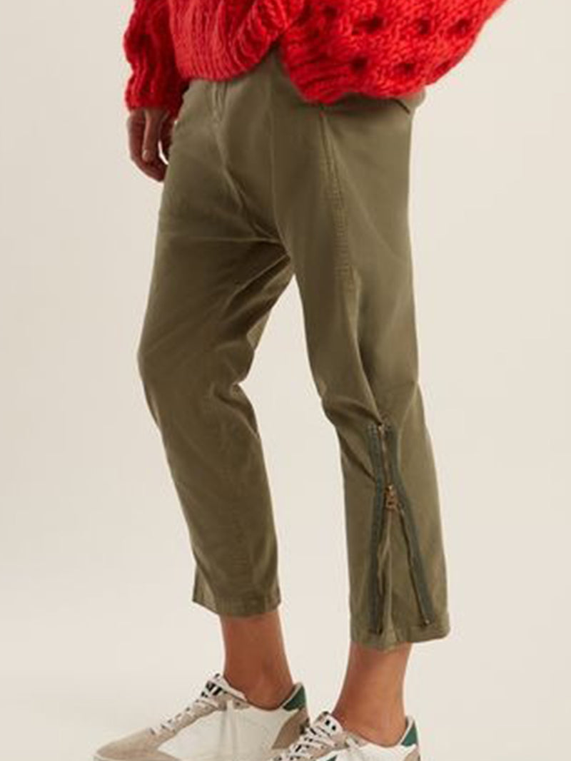 Plus Szie Zipper Vintage Plain Casual Pants