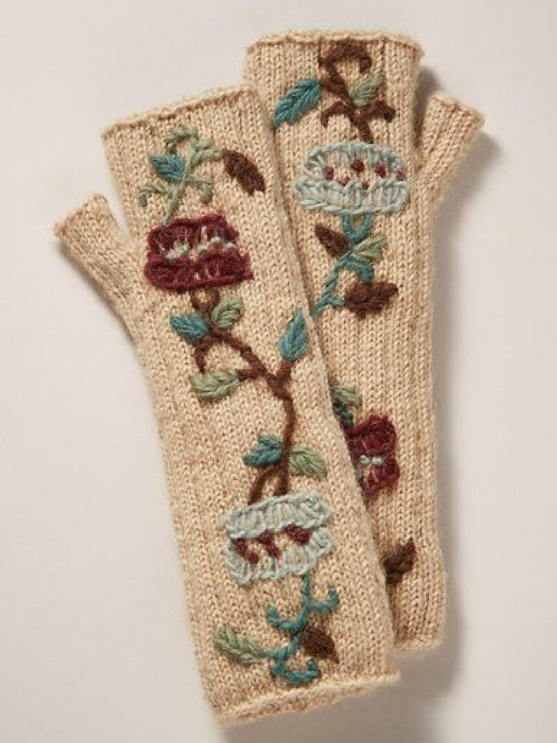 Apricot Cotton-Blend Floral Gloves & Mittens