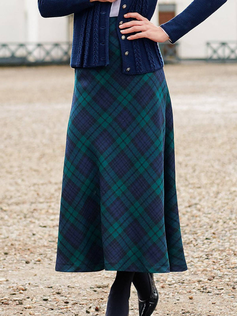 Casual Plaid Cotton-Blend Skirts