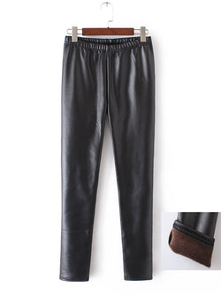 Plus Size Velvet Imitation Leather Plain Casual Pants