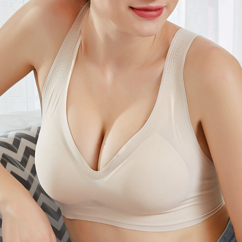 Soft Wireless Deep Plunge T-Shirt Yoga Sports Cozy Bra