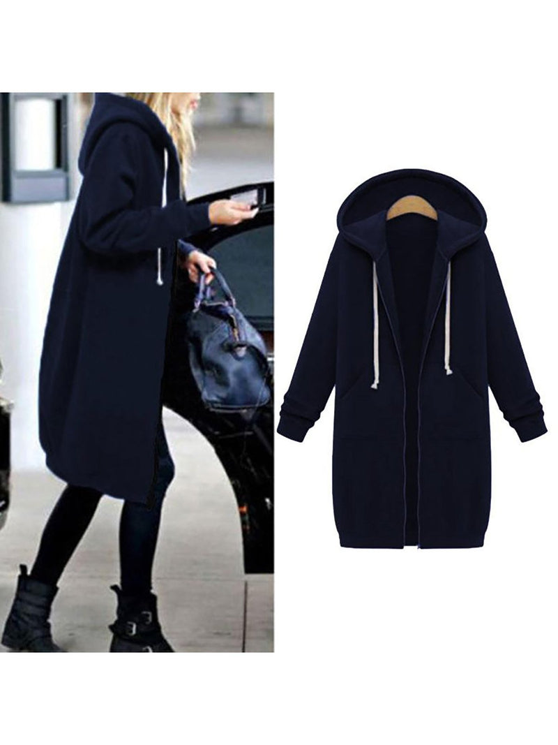 Plain Pockets Long Sleeve Plus Size Jacket