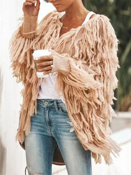 Women Casual Fringed Polyester Plus Size Coat