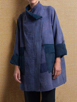 Blue Cotton-Blend Long Sleeve Outerwear