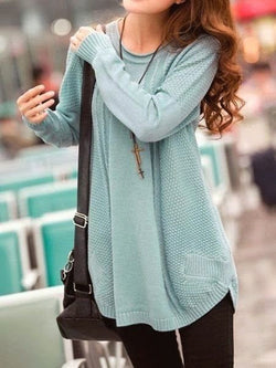 Blue Plain Crew Neck Cotton-Blend Casual Sweater