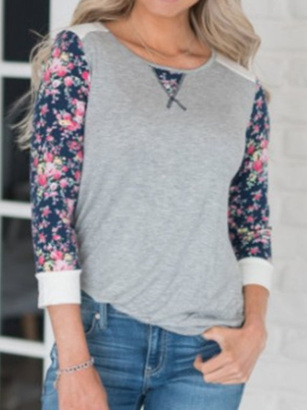 Vintage Floral Printed Plus Size Long Sleeve Casual Tops