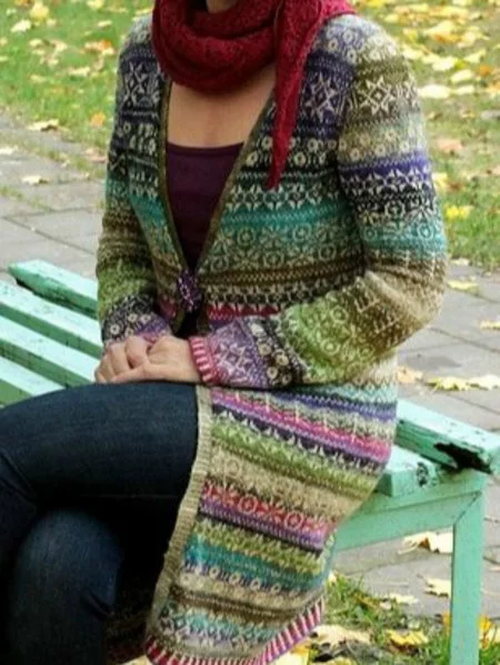 Multicolor V Neck Cotton Striped Long Sleeve Outerwear