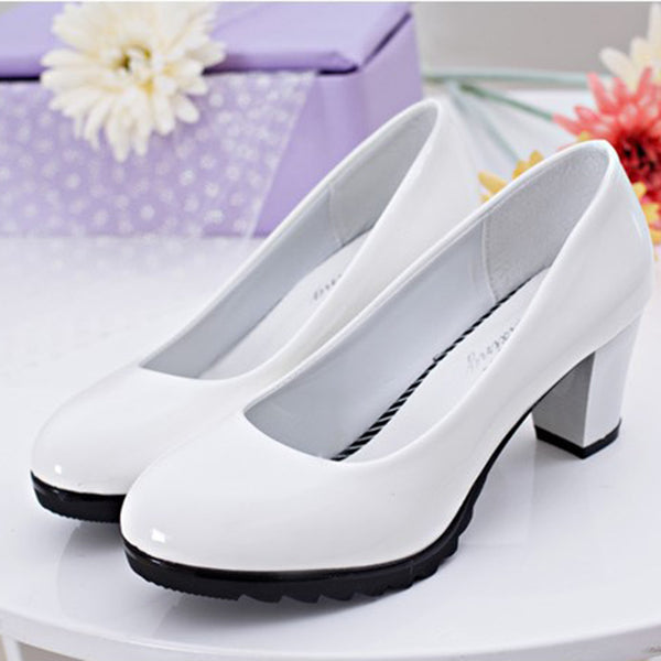 Non Slip Solid Chunky Heel Work Pumps