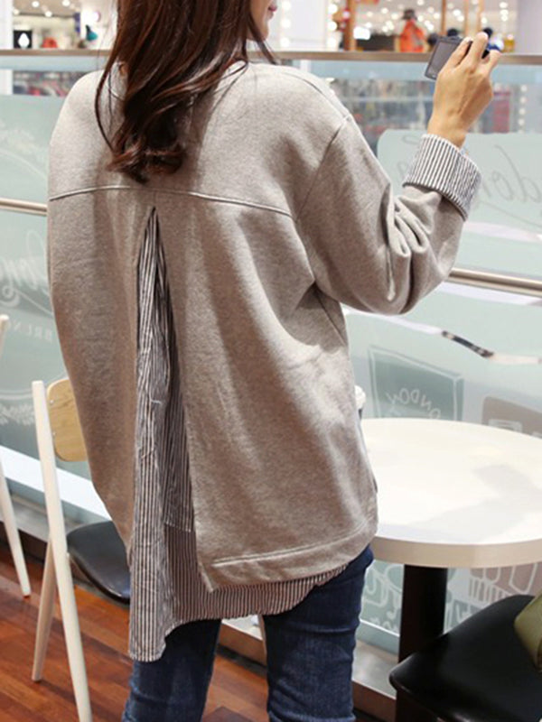 Light Gray Casual Paneled Blouses & Shirt