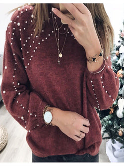 Knitted Crew Neck Casual Shirts & Tops