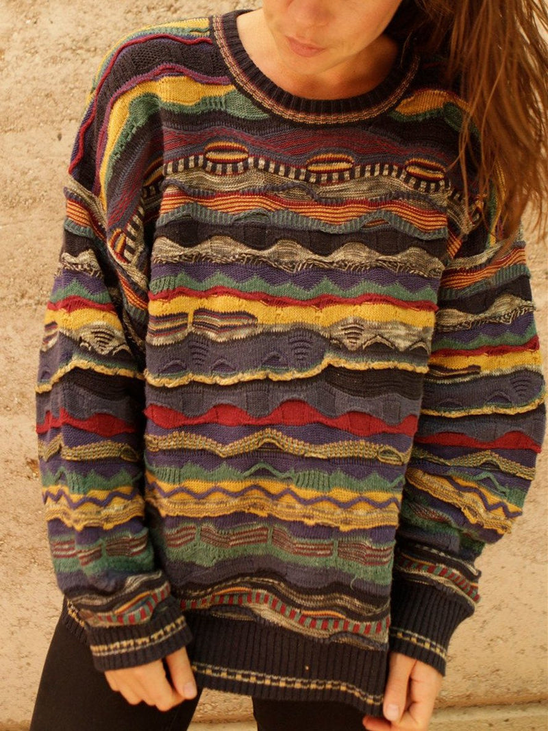 Multicolor Cotton-Blend Round Neck Casual Sweater