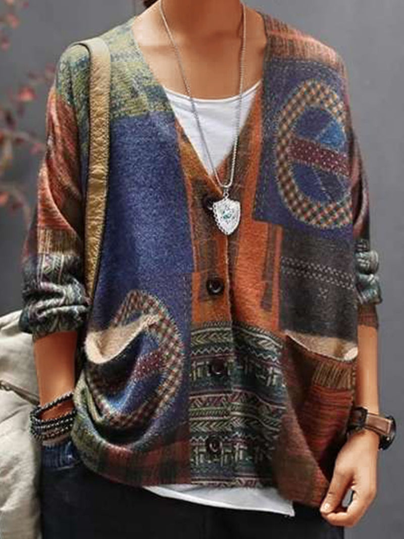 Multicolor Statement Printed Plus Size V Neck Long Sleeve Vintage Casual Outerwear