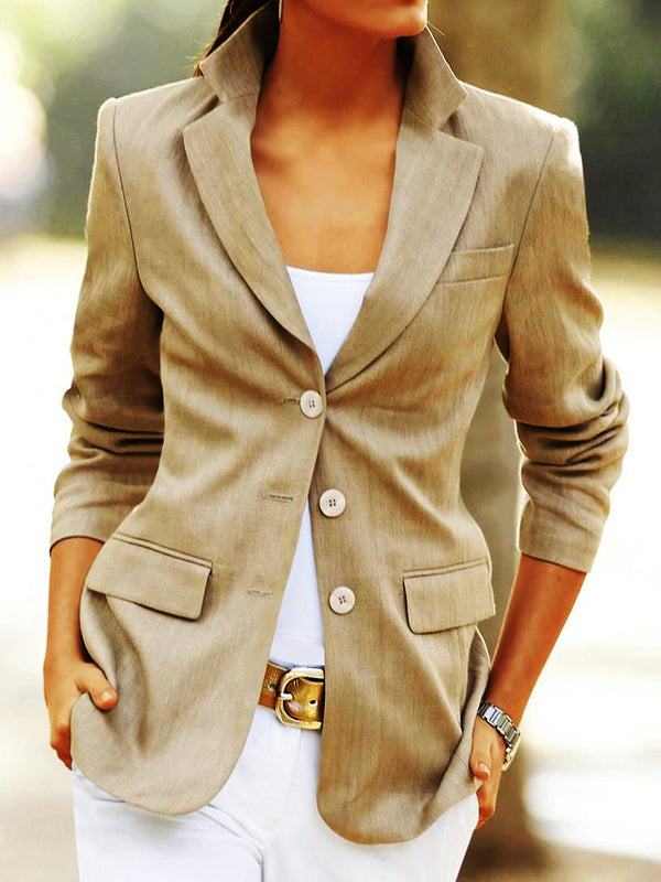 Long Sleeve Lapel Plain Shift Jackets