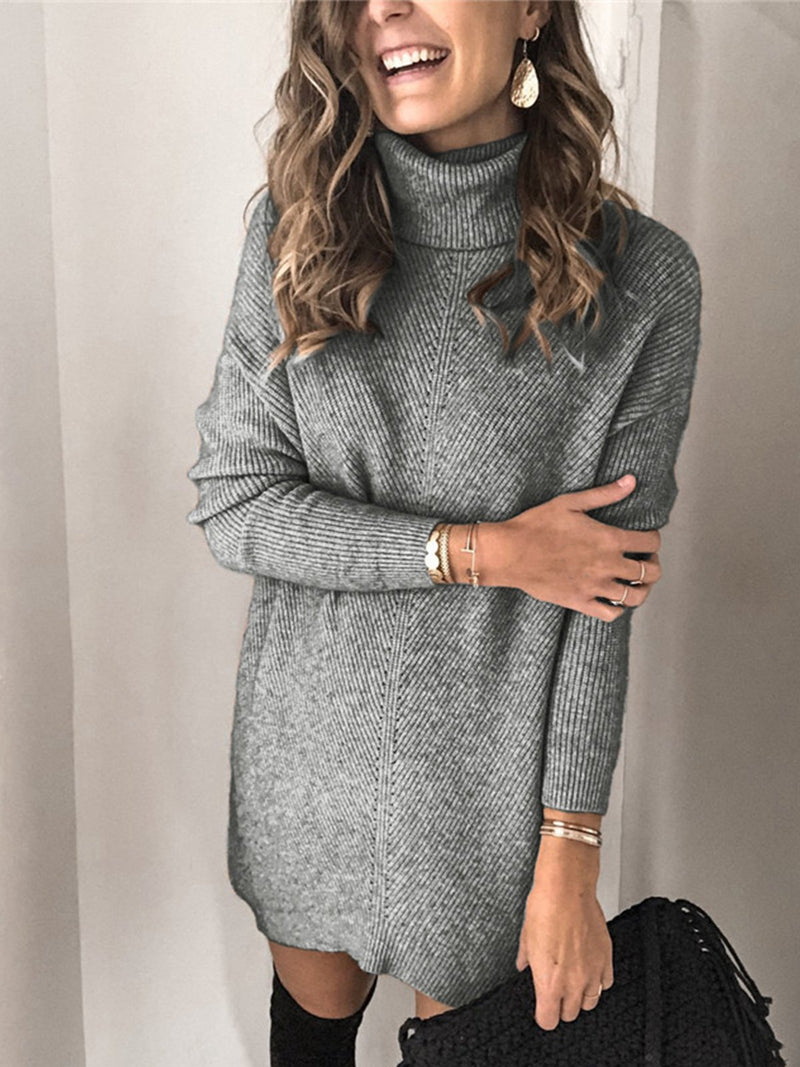 Plus Size Cutout Long Sleeve Plain Vintage Casual Sweater Dresses
